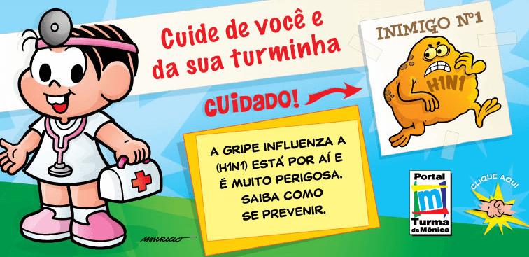 Como prevenir gripe H1N1 com a Turma da Mônica