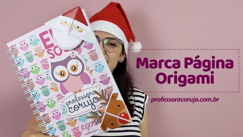 Marca página Origami de Natal para baixar
