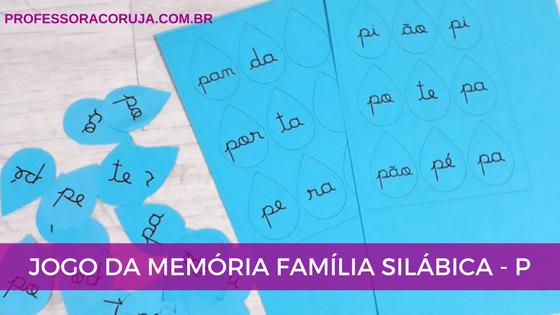 Jogo da memória família silábica P