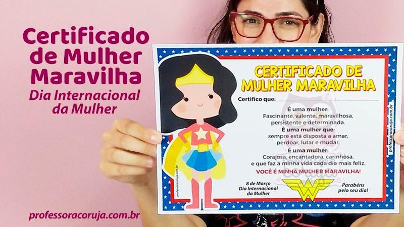 Certificado de Mulher Maravilha – Dia Internacional da Mulher